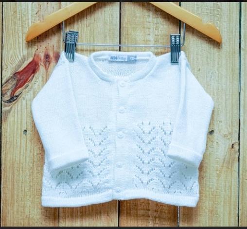 Casaco Para Bebê Em Tricot  Branco