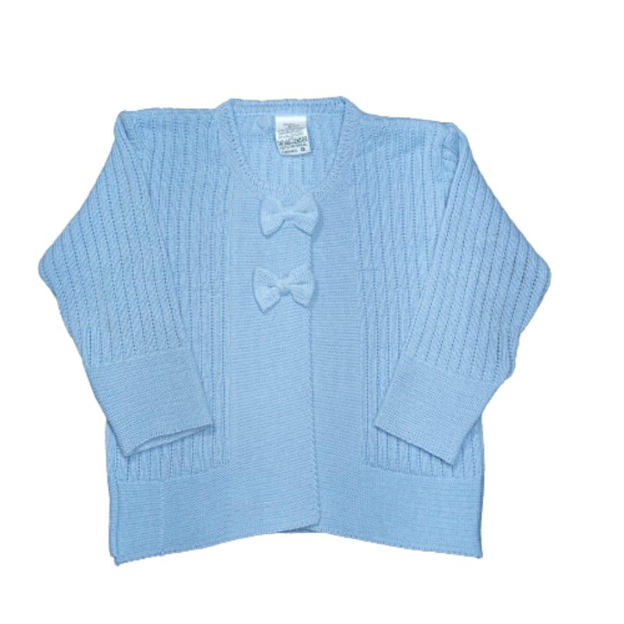 Casaco para Bebê em Tricot com Detalhes na Frente é Lacinho Azul Claro