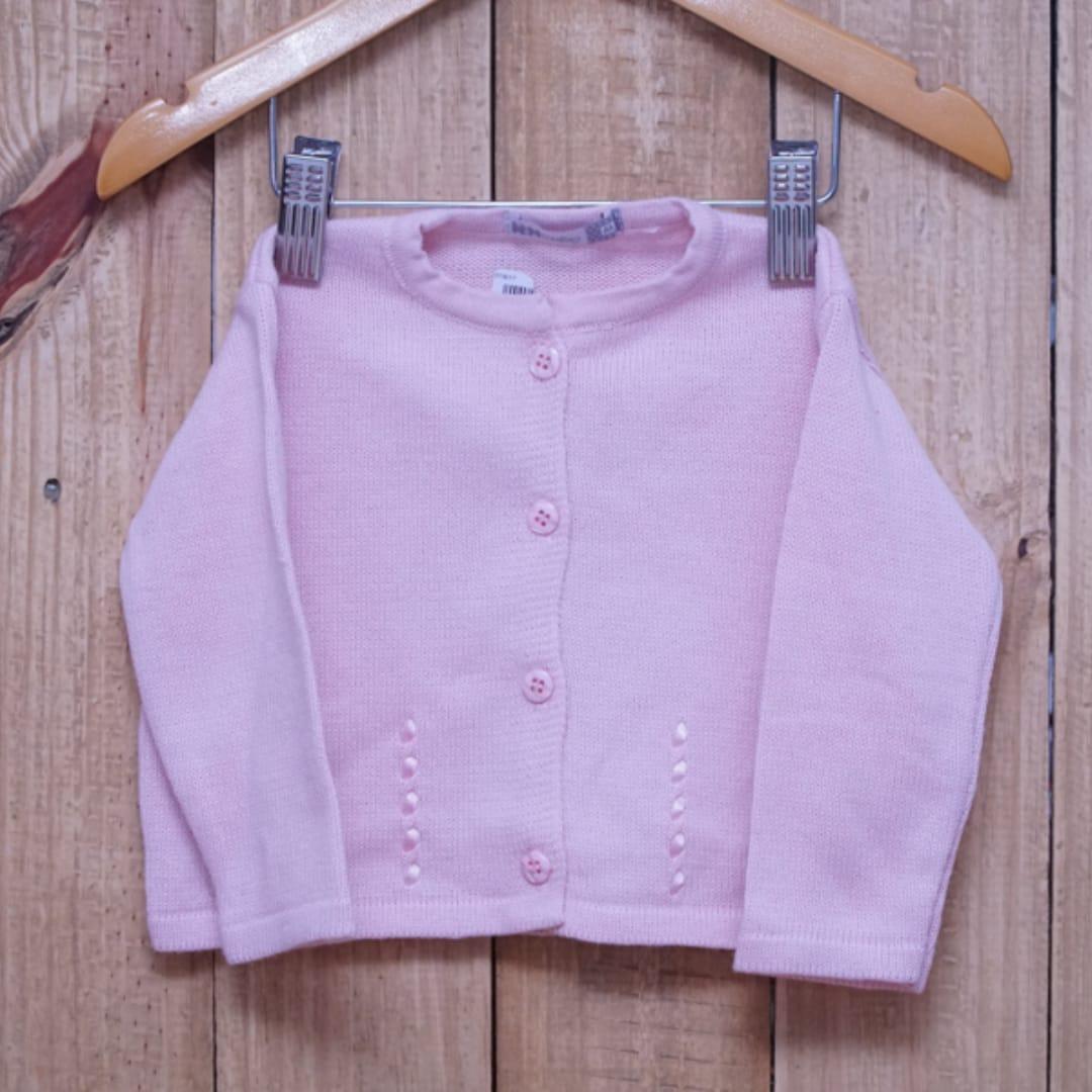 Casaco Para Bebê em Tricot com detalhes na Frente Rosa