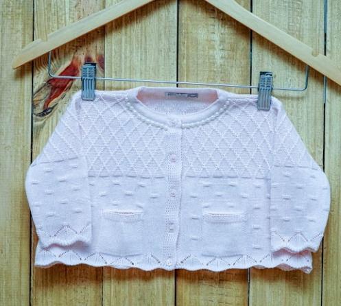 Casaco Para Bebê Em Tricot com  Pérolas  e Frente com Dois Mine Bolso Feminino Rosa