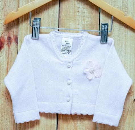 Bolero  Para Bebê Em Tricot Feminino Rosa com  com Botões e uma Flor