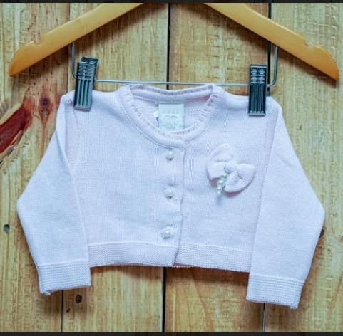 Bolero Para Bebê Em Tricot Feminino Rose com  com Botões de Pérolas e Laço