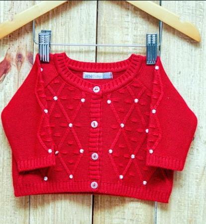 Casaco Para Bebê Em Tricot Feminino Vermelho