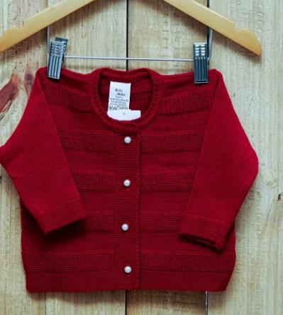 Casaco Em Tricot  Para Bebê  Feminino Vermelho