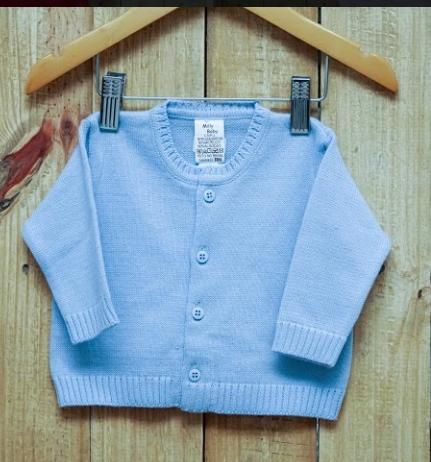 Casaco Para Bebê Em Tricot  Liso Azul Claro