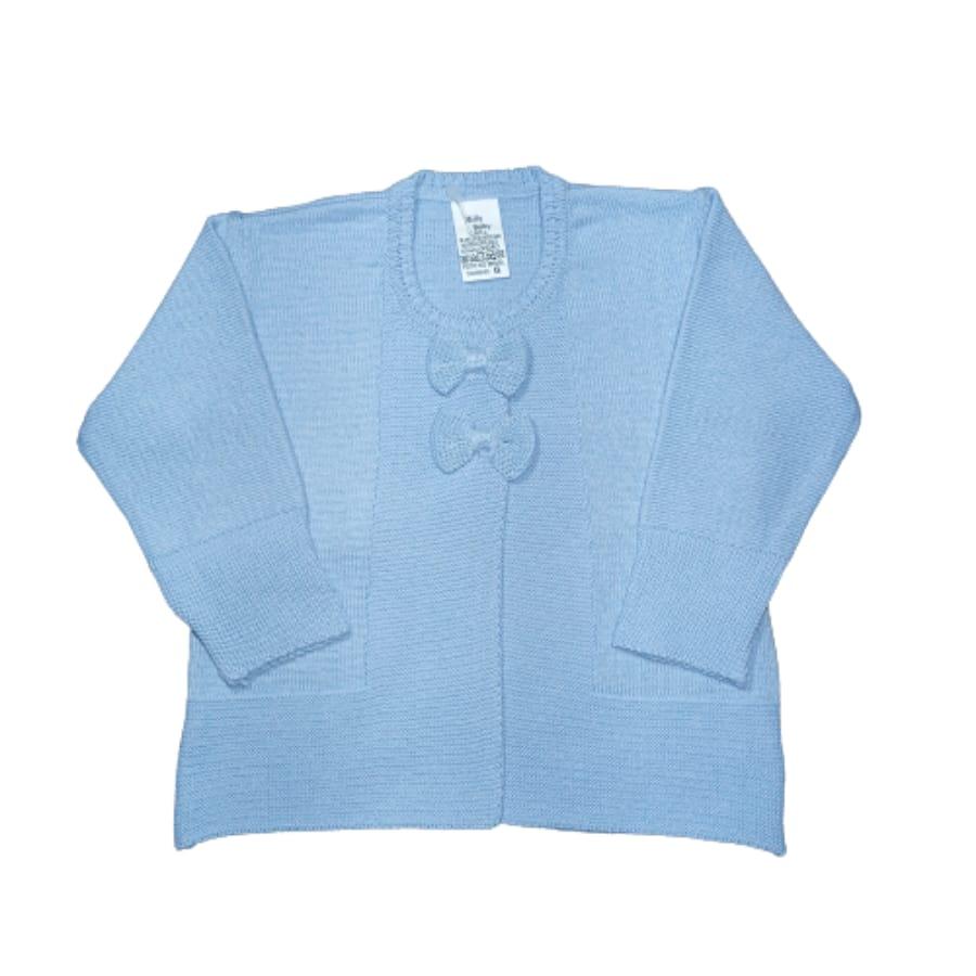 Casaco para Bebê em Tricot Liso com Lacinho Bordado Azul Claro