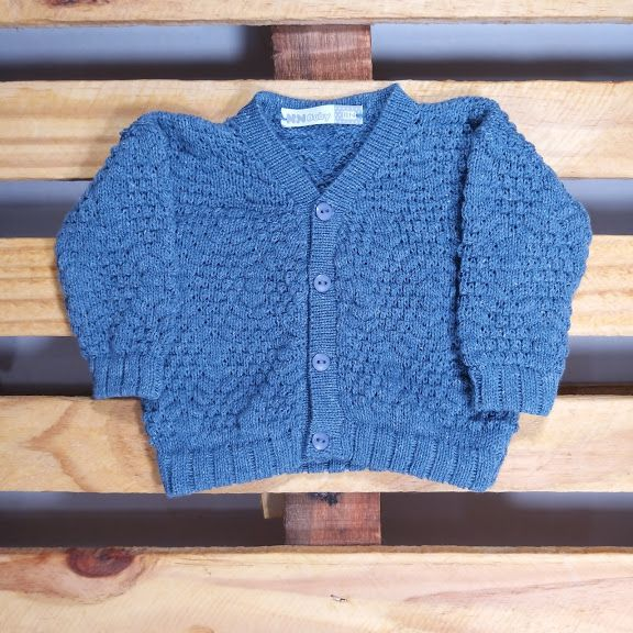 Casaco Em Tricot  Para Bebê Ponto Pipoca  Blue Jeans