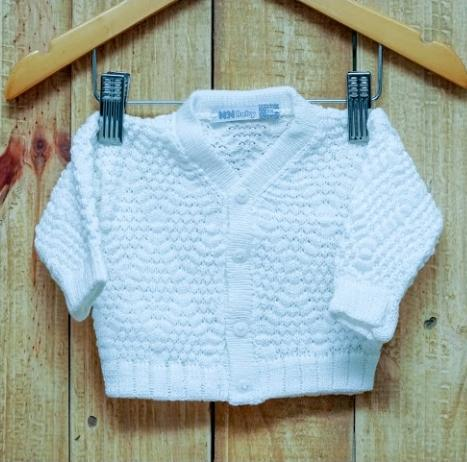 Casaco Para Bebê em tricot Ponto Pipoca Branco