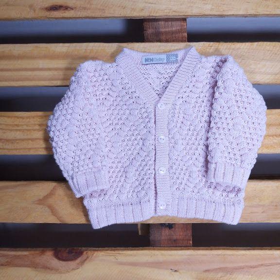 Casaco Em Tricot  Para Bebê  Ponto Pipoca Rosa