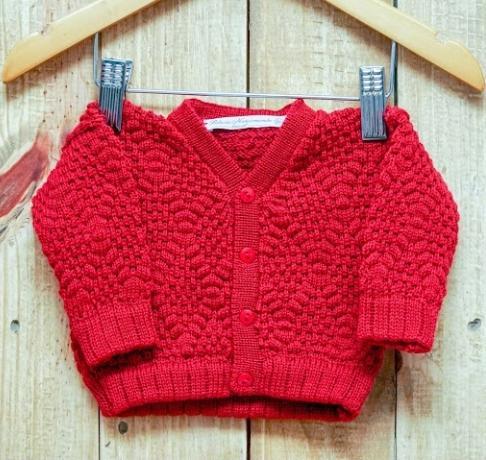 Casaco  Em Tricot Para Bebê  Ponto Pipoca Vermelho