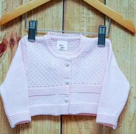 Bolero  Para Bebê Em Tricot Rosa