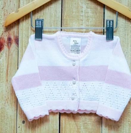 Bolero Para Bebê Em Tricot Rosa com Branco com Botões de Pérolas