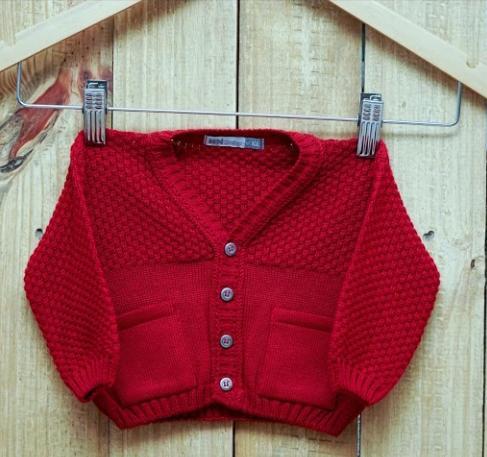 Casaco Para Bebê Em Tricot Vermelho