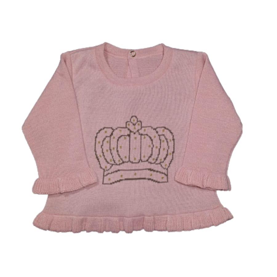 Casaco para Bebê Estampado Coroa Rosé