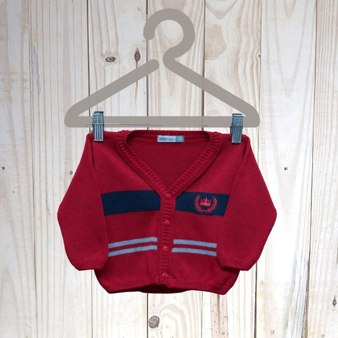 Casaco Em Tricot   para Bebê Com Bordado Coroa Vermelho