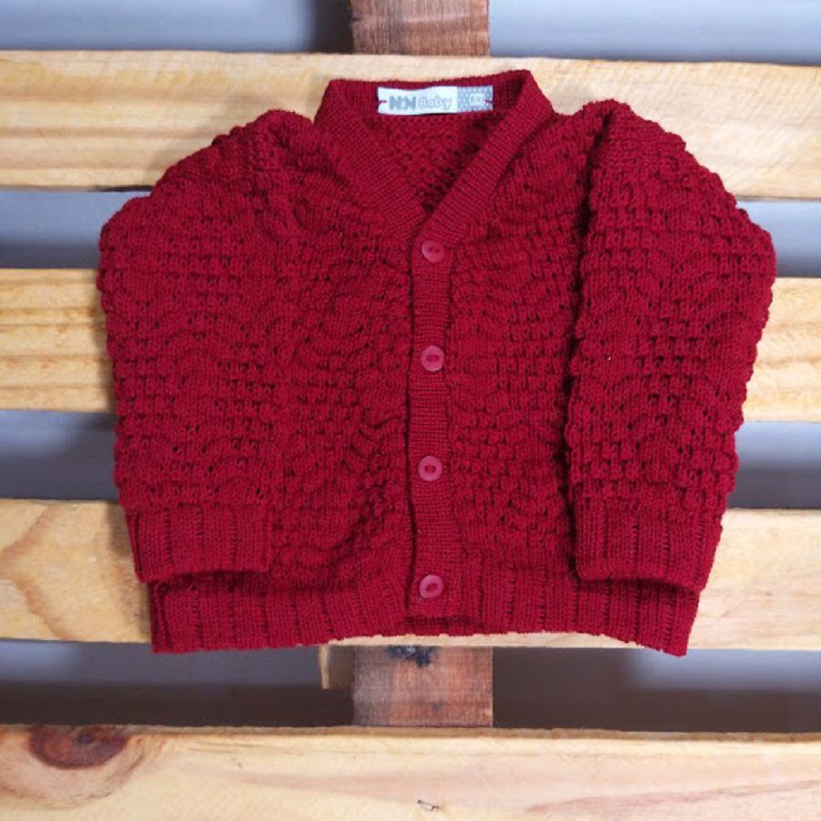Casaco Para Bebê em tricot Ponto Pipoca