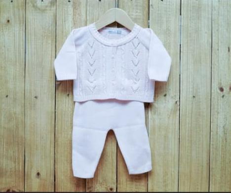 Conjnto para Bebê em Tricot  Casaco  com Pérola na  Frente E Meia Calça Rosa