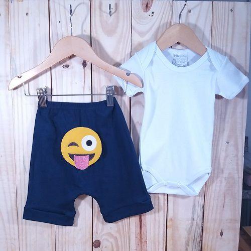 Conjunto Bermuda para Bebê Marinho Emoji e Body Liso Prata