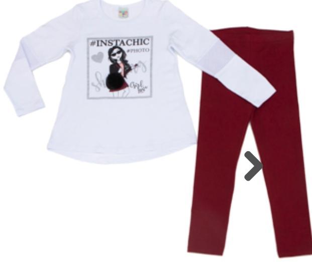 Conjunto  Blusa Cotton Branco   manga longa, Calça Legging