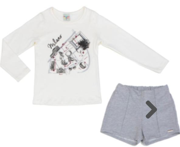 Conjunto  Blusa Cotton Off Whit Manga longa com Shorts