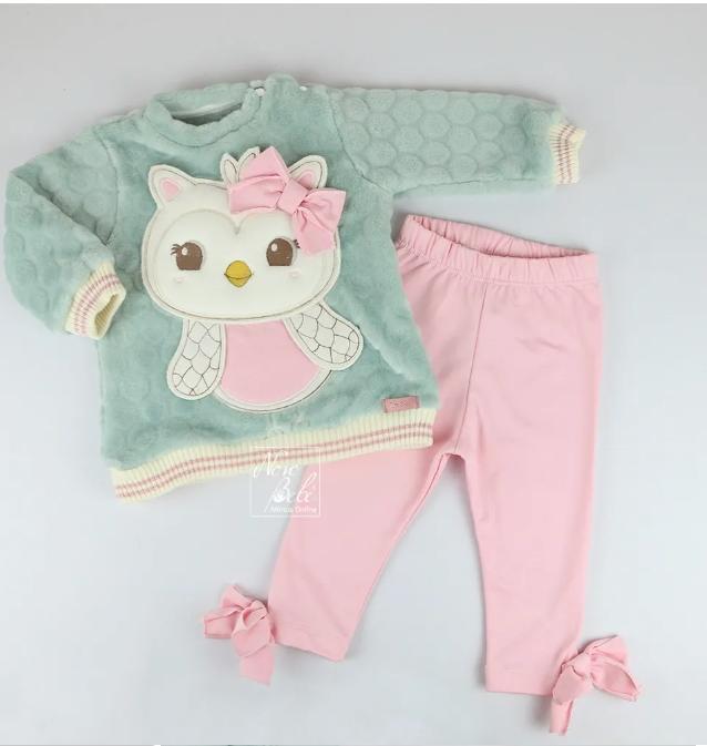 Conjunto Infantil Blusa e Legging para Bebê Thermo  Coruja
