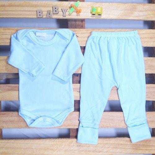 Conjunto Body e Culote para Bebê Azul Bebê Tamanho G