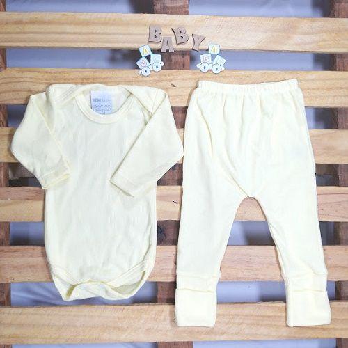 Conjunto Body e Culote 80% Algodão para Bebê Amarelo Tamanho G