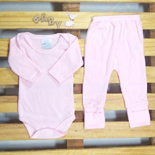 Conjunto Body e Culote para Bebê 80% Algodão Rosa Tamanho G