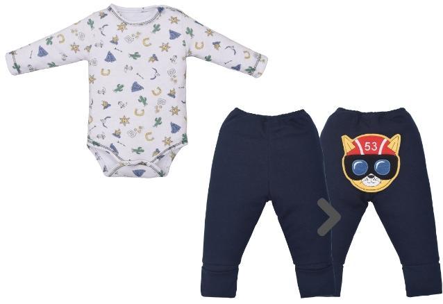 Conjunto Body para Bebê  e Culote Estampado Suedine Pé Reversivel
