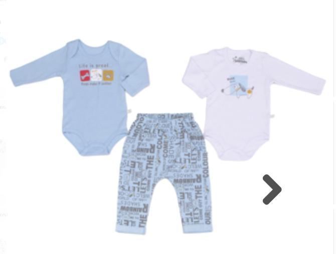 Conjunto com 3 peças  Body e Culote  para Bebê Azul e Branco