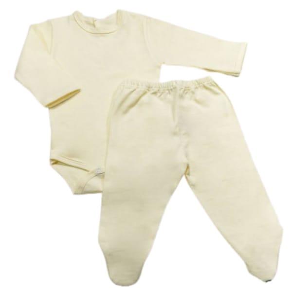 Conjunto de Body e Culote para Bebê em Malha Leve Off White