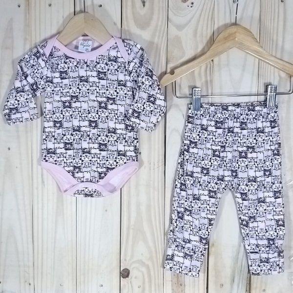 Conjunto de Body Manga Longa e Culote para Bebê  Estampado Menina
