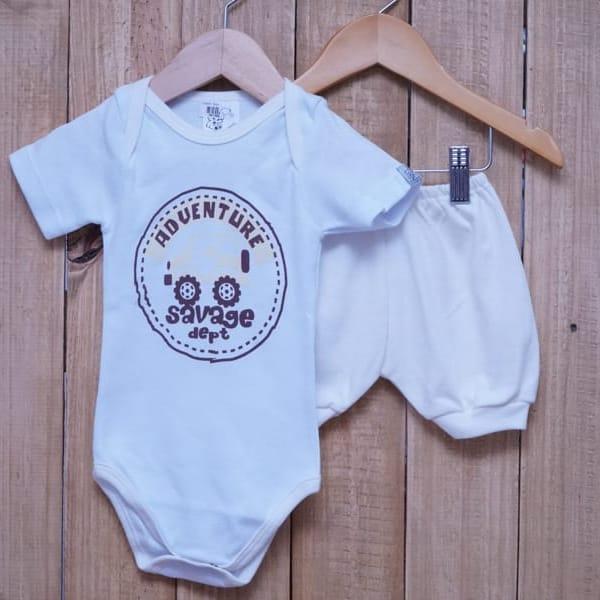 Conjunto para Bebê de Body Adventure Estampado com Short Off White