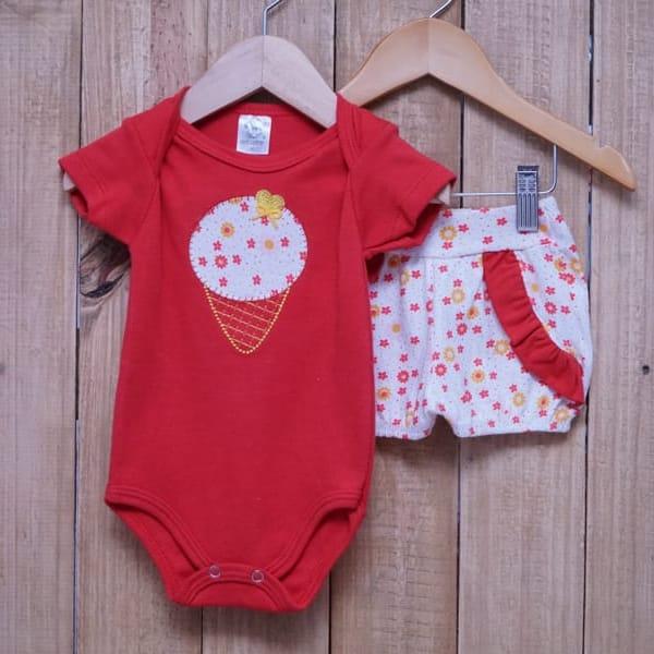 Conjunto para Bebê de Body Sorvete e Short com Bordado Vermelho