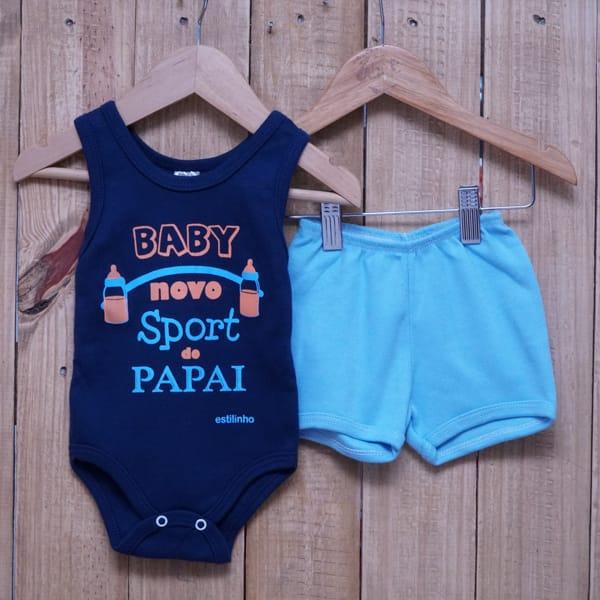Conjunto para Bebê de Body Regata Baby Novo Sport do Papai Azul Marinho Azul Claro e Laranja