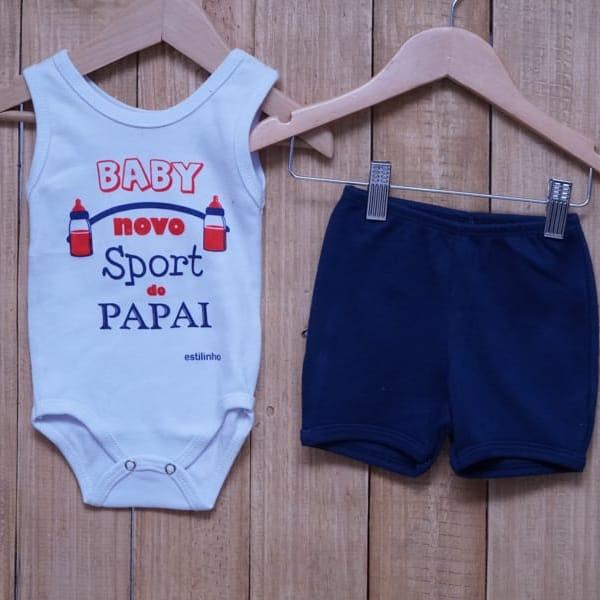 Conjunto para Bebê de Body Regata Baby Novo Sport do Papai Branco Vermelho e Azul Marinho