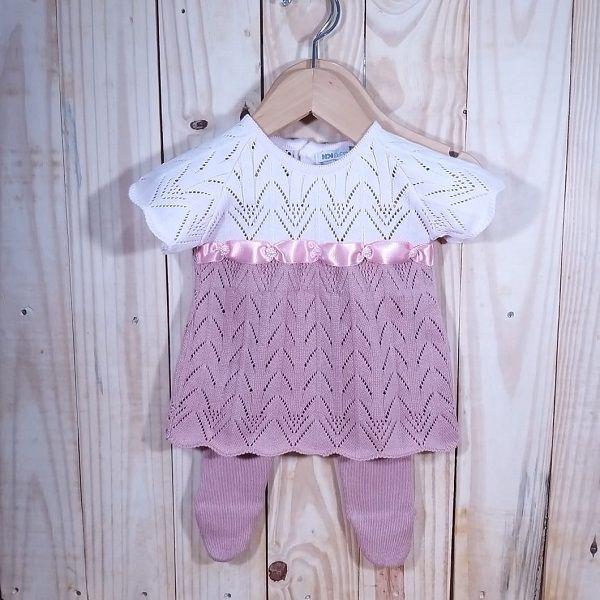 Conjunto de Vestido  Para Bebê em Tricô duas Cores