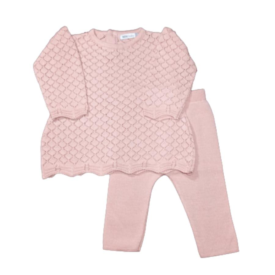 Mini Vest para Bebê em Tricot Rendado com Meia Calça