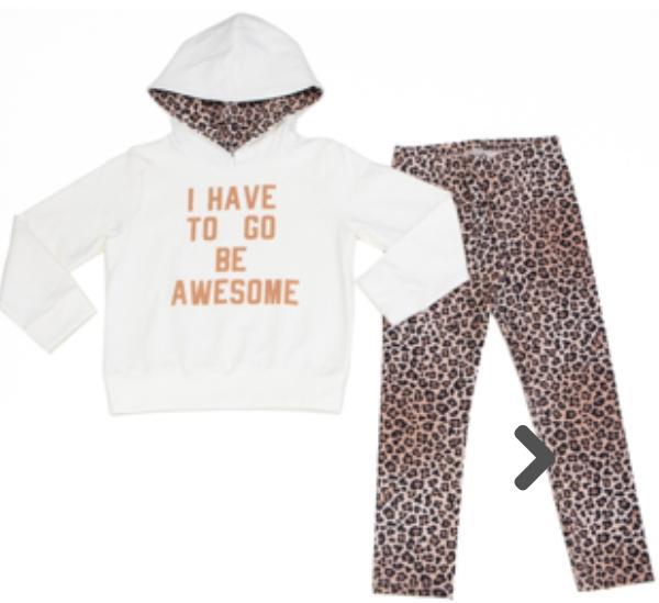 Conjunto Infantil  Blusão Off Whit  manga longa, Calça Legging Onça
