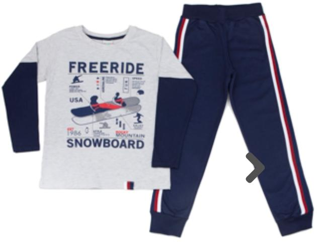 Conjunto Infantil camiseta  Malha Manga Longa com Calça Moleton