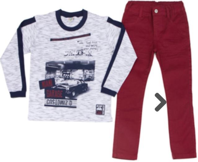 Conjunto Infantil camiseta  Malha Manga Longa com Calça Sarja