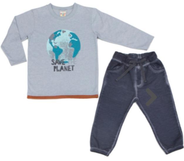 Conjunto Infantil Mescla Camiseta  Malha com Calça Moleton Com Punho
