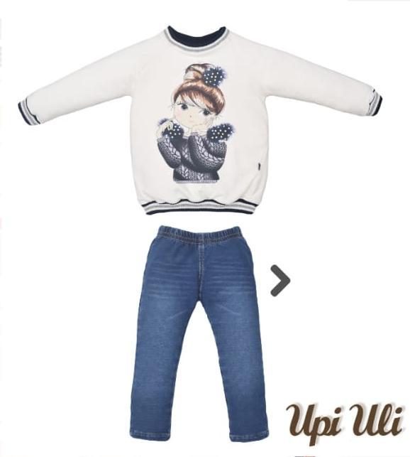 Conjunto Infantil  Moletinho Blusa com Bordado e Calça Jeans