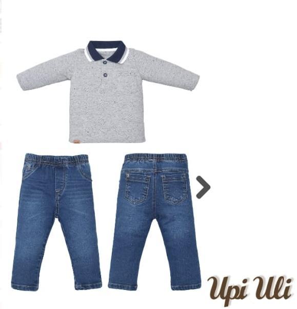 Conjunto  Moletinho para  Bebê Blusa Gola Polo e Calça Jeans