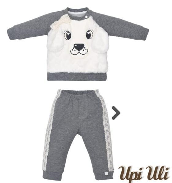 Conjunto Moletinho para  Bebê com Pelo Cachorrinha