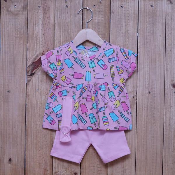 Conjunto para Bebê Bata Estampado Picolé e com Faixa de Cabelo Rosa