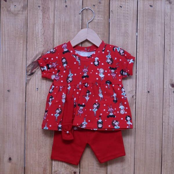 Conjunto para Bebê Bata Estampado Bailarina e com Faixa de Cabelo Vermelho
