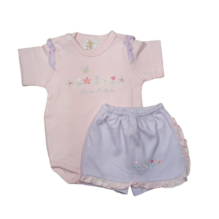 Conjunto para Bebê Body e Short Saia Estampa de Flor