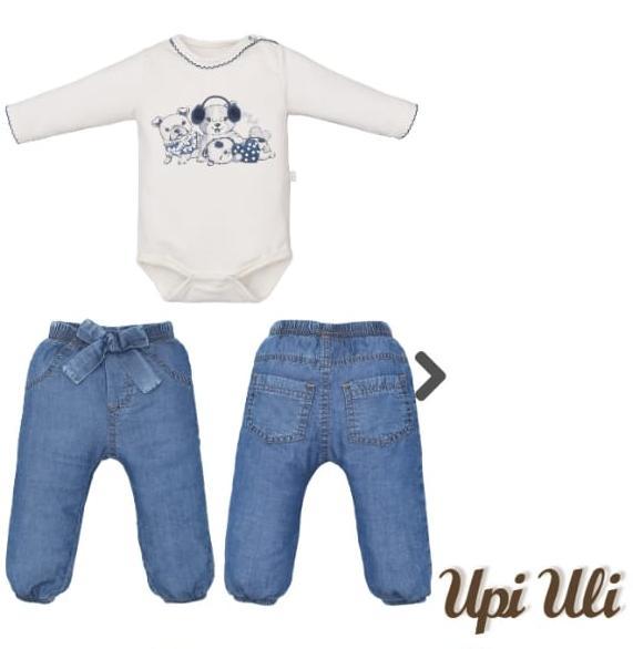 Conjunto para Bebê Body Estampado com Calça jeans