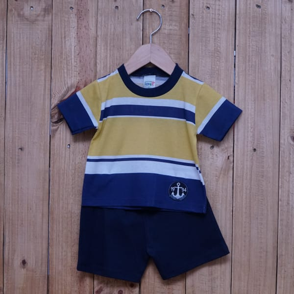 Conjunto para Bebê Bordado Âncora Listrado Amarelo Azul Marinho e Branco